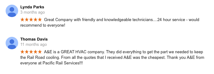 A&E Google Reviews